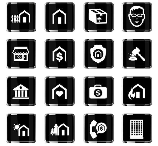 Vastgoed vector iconen voor gebruikersinterface ontwerp