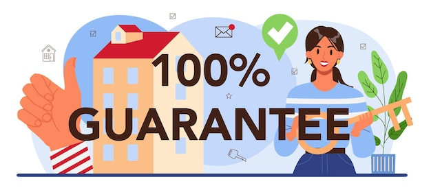 Vastgoed voordelen typografische header. gekwalificeerde en betrouwbare makelaar of makelaar garanderen een aankoop van onroerend goed. makelaar helpt bij het zoeken naar een woning. platte vectorillustratie