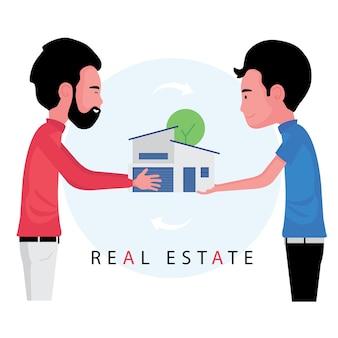 Vastgoedbedrijf kenmerk makelaar overhandigt het huis aan de koper nadat de deal is afgerond