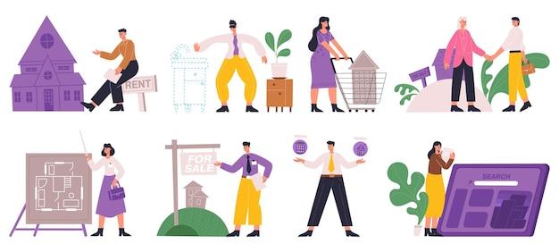 Vastgoeddiensten, zoeken, verkoop, huur, hypotheek. woningmarkt, mensen zoeken, verkopen en kopen huis vector illustratie set. vastgoedservice