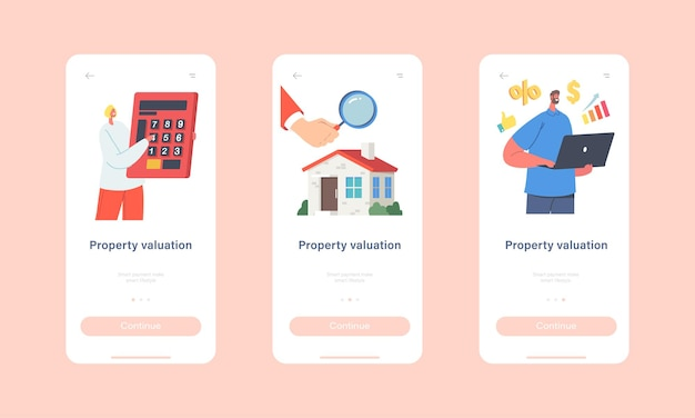 Vastgoedwaardering mobiele app-pagina onboard-schermsjabloon. taxateurs personages doen huisinspectie. woningwaardering, vastgoedwaarde, beoordelingsconcept. cartoon mensen vectorillustratie