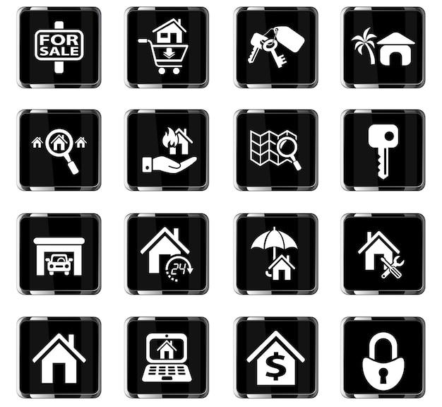 Vastgoedwebpictogrammen voor gebruikersinterfaceontwerp