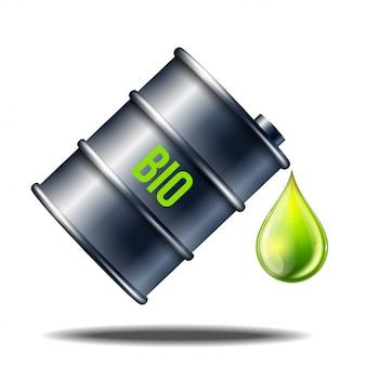 Vat biobrandstof met woord bio met oliedaling die op wit wordt geïsoleerd. groene druppel olie die uit het zwarte vat valt. conceptueel ontwerp van alternatieve brandstof.