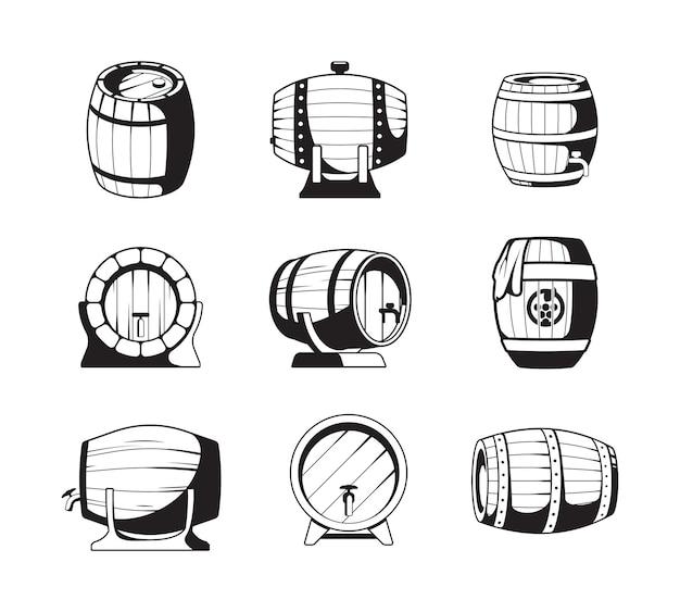 Vaten silhouetten. houten vaten symbolen voor wijn of bier bedrijfslogo ontwerp sjablonen vector emblemen collectie. vatsilhouet met alcohol, houten vatillustratie