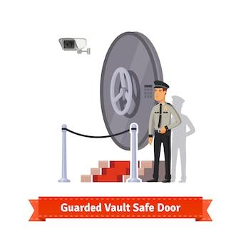 Vault veilige deur bewaakt door een officier in uniform