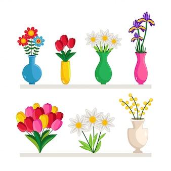 Vazen met bloemen ingesteld