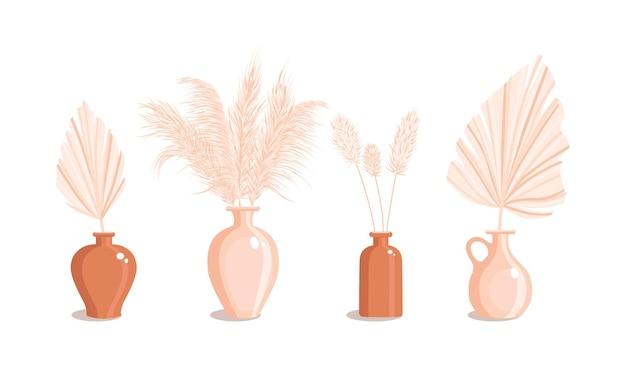 Vazen met droog gras en palmbladeren. gedroogde bloemenornamentelementen in boho-stijl. nieuwe trendy woondecoratie. platte vectorillustratie geïsoleerd op een witte achtergrond