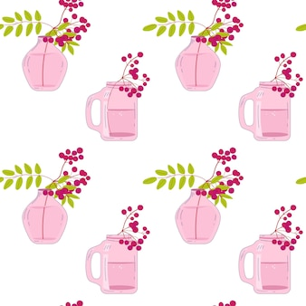Vazen met lijsterbessen handgetekend naadloos patroon