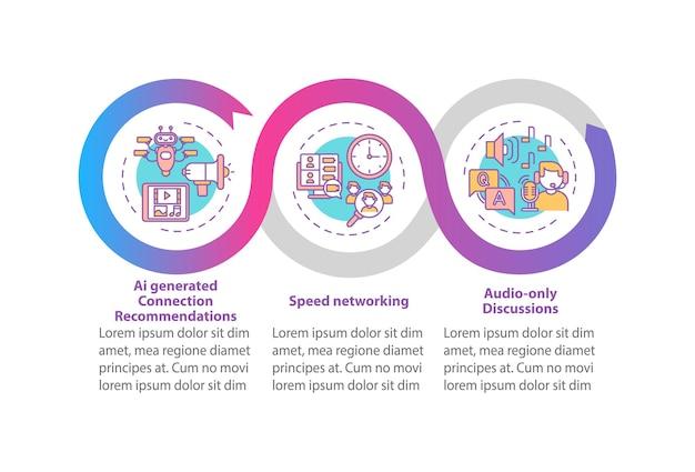 Ve voor netwerken vector infographic sjabloon. aanbevelingen ai, audio talks presentatie ontwerpelementen. datavisualisatie met 3 stappen. proces tijdlijn grafiek. workflowlay-out met lineaire pictogrammen