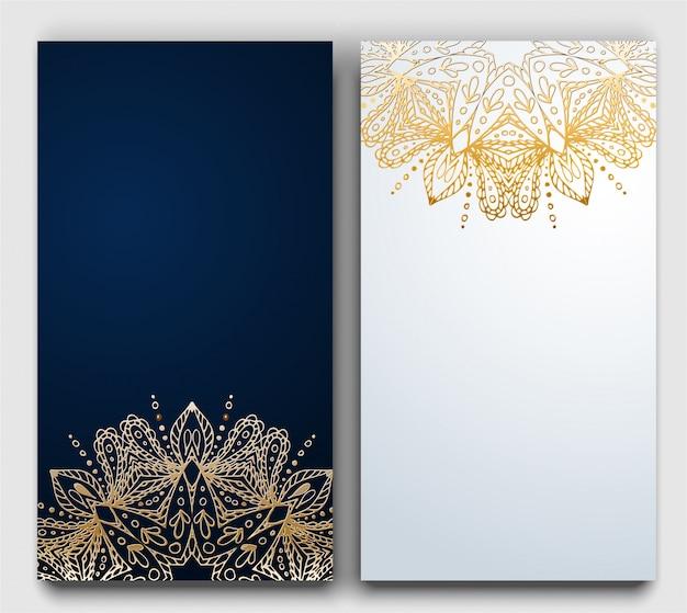 Vec gouden cirkelornament op donkere en witte gradiëntkaart