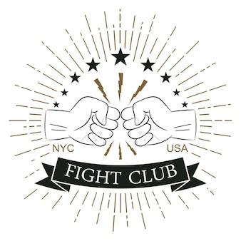 Vecht clublogo. hipster-stijl. afdrukken voor designkleding, t-shirtstempel met zonnestraal, bliksem en vuist. typografie van sportkleding. vector illustratie.