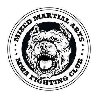 Vecht clublogo met boze hond. kickboksen en vechtclublogo met boze hond. geïsoleerde vectorillustratie