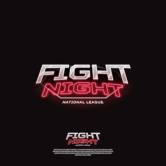 Vecht nachtteken. modern neon sportlogo.