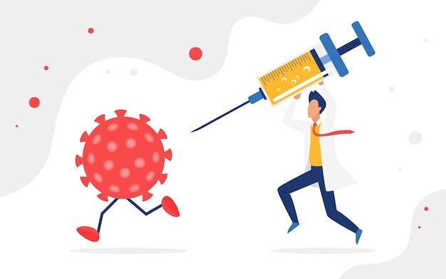 Vecht tegen coronavirus, vaccinatieconcept, viraal celkarakter dat van persoon wegloopt