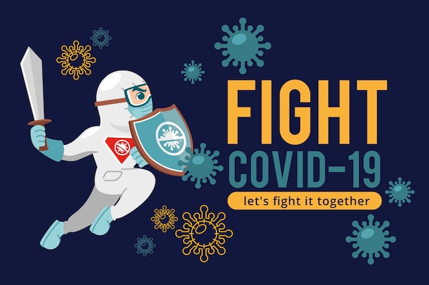 Vecht tegen de virusman met zwaard en beschermingspak