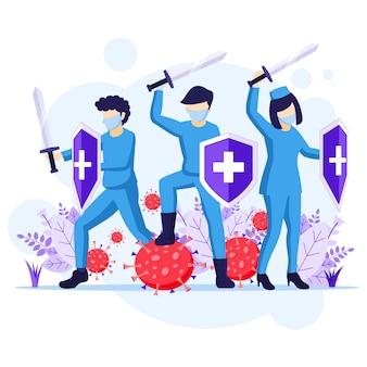 Vecht tegen het virusconcept, dokter en verpleegsters gebruiken zwaard en schild om de covid-19 coronavirus-illustratie te bestrijden