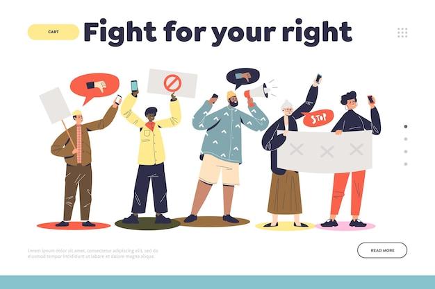 Vecht voor het concept van uw rechten op de bestemmingspagina met protesterende groep mensen