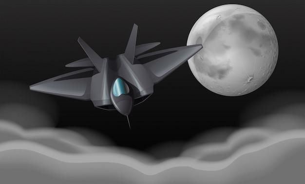 Vechtende straalvliegtuig 's nachts