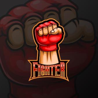 Vechter hand mascotte e sport logo ontwerp