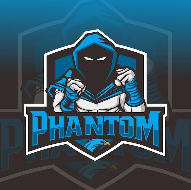 Vechter mascotte esport logo ontwerp