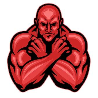 Vechter mascotte kruising arm
