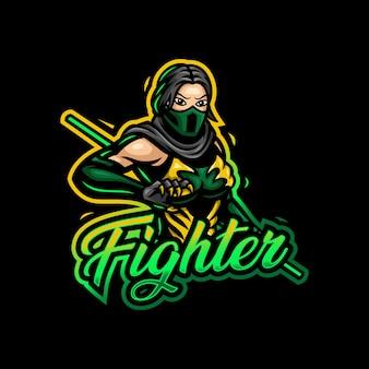 Vechter meisje mascotte logo esport gaming