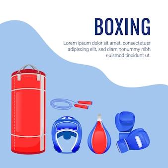 Vechtersuitrusting op sociale media plaatsen. boksen goederen. web banner ontwerpsjabloon. professionele sportuitrusting