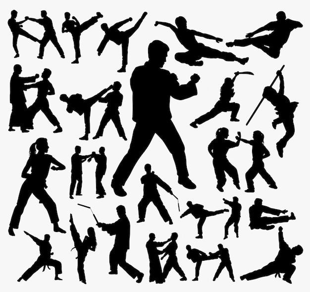 Vechtsport en kungfu-silhouet.