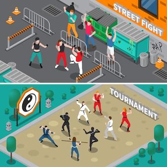 Vechtsporten mensen isometrische banners