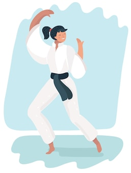Vechtsportenvrouw in kimono