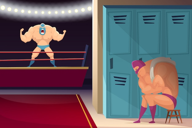 Vechtsportring. worstelaar vechters lucha libre sport gemaskerde cartoon
