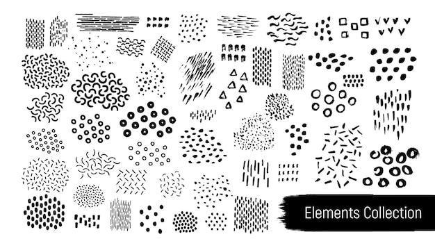 Vecor getextureerde grunge geometrische micro-elementen kit.