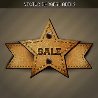 Vecto verkoop leren label ontwerp