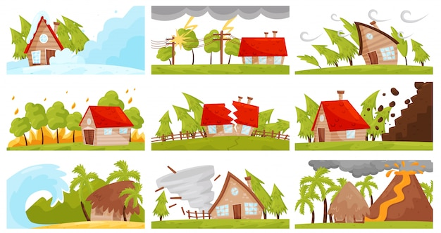 Vectoe set van natuurrampen. wildvuur, vulkaanuitbarsting, lawine, sterke tornado, destructieve aardbeving