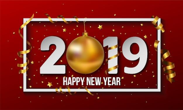 Vector 2019 gelukkig nieuwjaar achtergrond