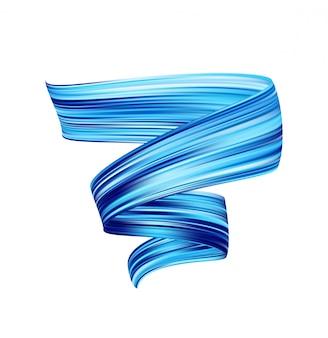 Vector 3d blauwe kleur penseelstreek olie of acrylverf. flow vloeibare vorm.
