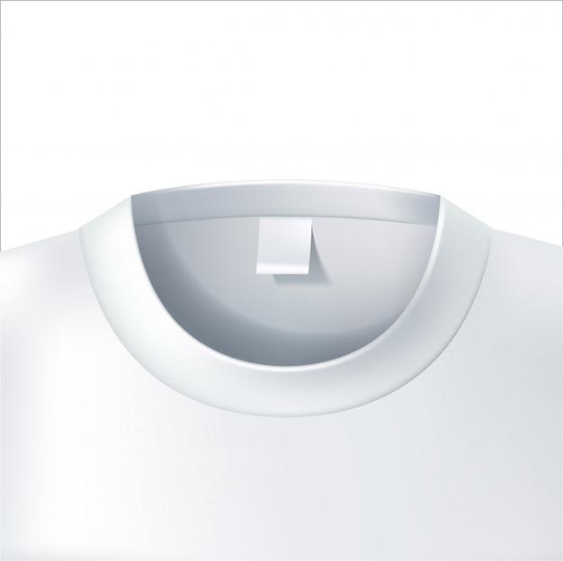 Vector 3d de close-up wit model van de t-shirtkraag
