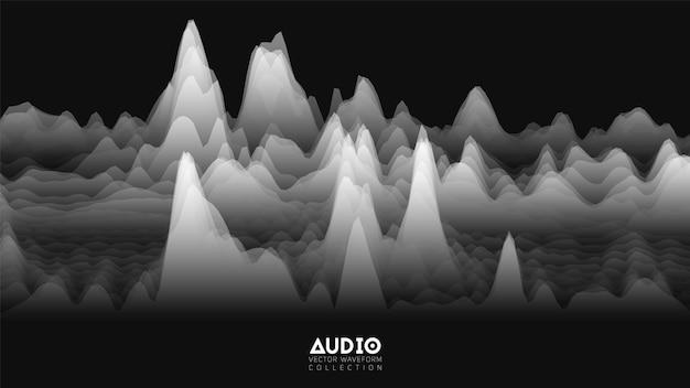 Vector 3d echo audio wavefrom spectrum.