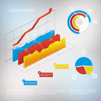 Vector 3d-grafiek moderne infographic elementen, business of analytics-sjabloon