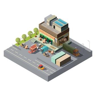 Vector 3d isometrisch pakhuis, vrachtwagens voor verzending
