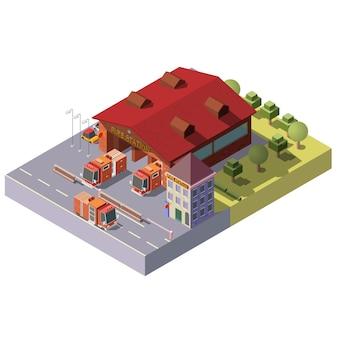 Vector 3d isometrische brandweerkazerne. gemeentelijke dienst