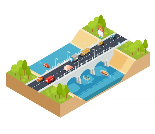 Vector 3d isometrische dwarsdoorsnede van een landschap met een stroomende rivier en autobrug doorheen.