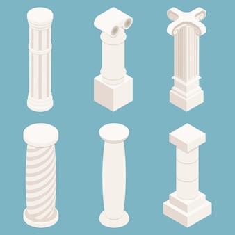 Vector 3d isometrische kolommen instellen. architectuursymbool, geschiedenissteen, klassiek monument, bouwpijlerillustratie