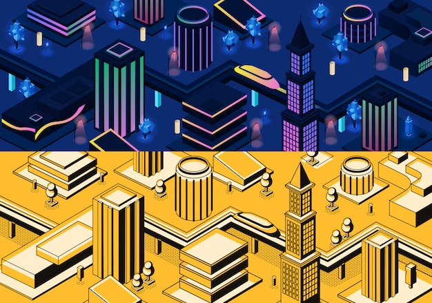 Vector 3d isometrische moderne stad - metropool in blauwe en gele kleuren of stad in de stijl van de lijnkunst