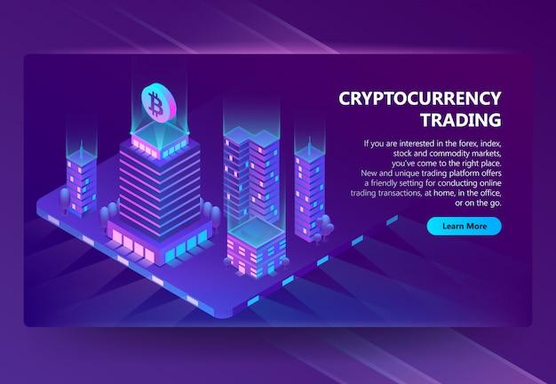 Vector 3d isometrische site voor de handel in cryptocurrency