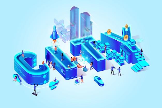 Vector 3d isometrische word stad