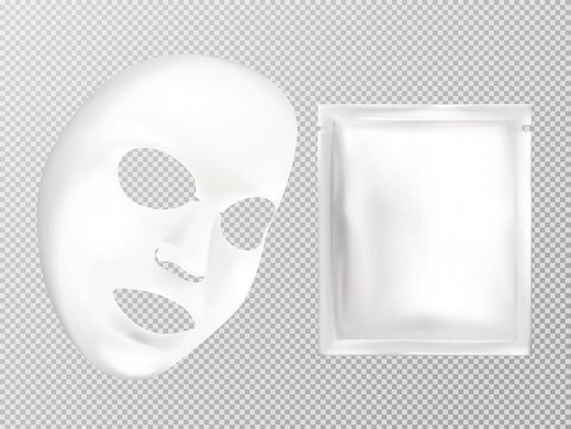 Vector 3d realistisch wit blad gezichts kosmetisch masker en zakje