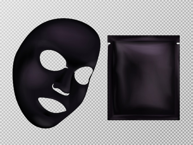 Vector 3d realistisch zwart blad gezichts kosmetisch masker en zakje.