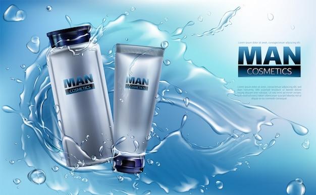 Vector 3d-realistische cosmetica voor mannen in waterspatten.