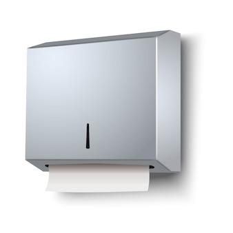 Vector 3d-realistische dispenser voor papieren handdoeken. geïsoleerd.